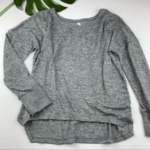 Lorna Jane Uniquely Pullover Sweater Grey Knit L